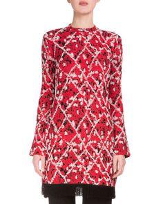 Proenza+Schouler+Long+Sleeve+Intarsia+Split+Hem+Tunic+Red+Combo+ +Top,+Cloak+and+Clothing