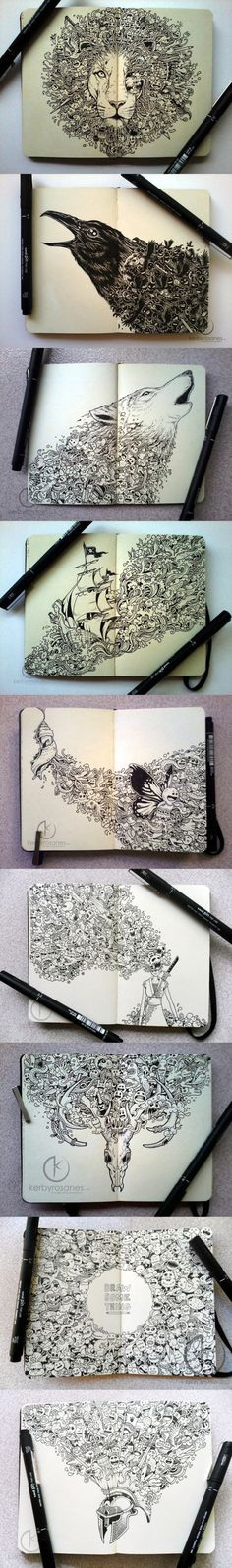 Incredible Moleskine drawings… #doodles #art #drawing