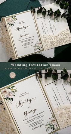 Ivory laser cut pocket wedding invitation with floral and champagne gold glittery backer EWDM014