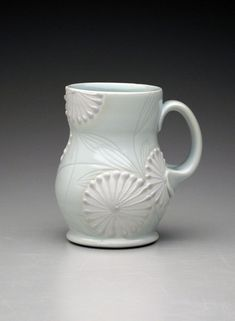 Handmade pottery mug. Porcelain mug in pale celadon & white. Wheel thrown, hand built and hand decorated. By Jennifer Allen Ceramics. Ceramic Cups, Porcelain Ceramics, Ceramic Art, Ceramic Design, Pottery Mugs, Ceramic Pottery, Pottery Ideas, Slab Pottery, Pottery Supplies