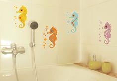 decoración baño con vinilos de caballitos de mar