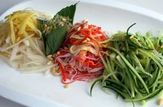 Cold salad with spicy mustard sauce (Gyeoja Naengchae) Potluck Recipes, Side Dish Recipes, Raw Food Recipes, Asian Recipes, Cooking Recipes, Ethnic Recipes, Vietnamese Recipes, Seafood Recipes, Appetizer Recipes