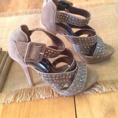 """Gorgeous shoes These shoes are so hot.  Taupe/tan colored strappy sandals with a 5"""" heel.  Worn one time to a wedding.  Excellent condition Steven by Steve Madden Shoes Sandals"""