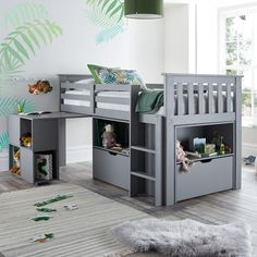 Milo Grey Wooden Mid Sleeper Kids Bed Frame – Single Manufactured for easy self-assembly If you want to surprise Bunk Beds Uk, Childrens Bunk Beds, Low Loft Beds, Kid Beds, Boys Cabin Bed, Cabin Beds For Kids, Kids Beds For Boys, Box Room Beds, Box Bedroom