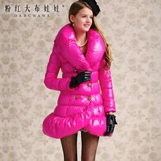 Original 2016 Brand OL Winter Thick Skirt Coat Down Jacket Women Slim Large Lapel Fish Tail Skirt Parka Wholesale Oversized Puffer Coat, Pink Puffer Coat, Women's Puffer Coats, Moncler Jacket Women, Coats For Women, Jackets For Women, Down Winter Coats, Down Suit, Nylons