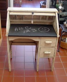 White Shabby Chic Child's Rolltop Chalkboard Desk