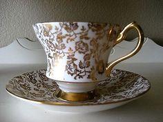 Royal Windsor Gold Rose Chintz Tea Cup and Saucer