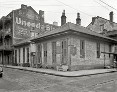 "New Orleans circa 1937. ""Dumaine Street at Bourbon."" I took a picture of this same advertisement when I went to New Orleans in 2010."