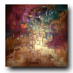 Original Abstract Art by Caroline Ashwood - Textured Gold and Purple contemporary abstract painting on canvas - Ready to hang. $420.00, via Etsy.