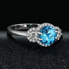 Fabulous Halo Blue Topaz Sterling Silver Wedding Ring