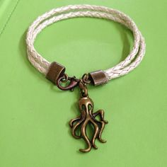 Leather and Octopus Bracelet by joytoyou41 on Etsy, $25.00