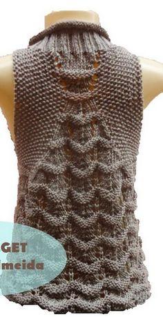 The pattern for sleeveless spokes - CraftIdea. Crochet Poncho Patterns, Crochet Jacket, Baby Knitting Patterns, Knitting Designs, Freeform Crochet, Knit Crochet, Creative Knitting, Knit Fashion, Lace Knitting