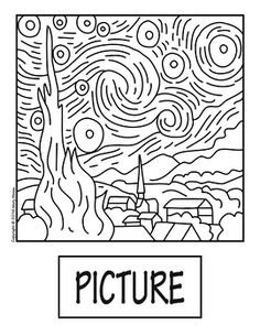 """""""The Starry Night"""" by Van Gogh COLLABORATIVE Activity Coloring Pages Stary Night Van Gogh, Starry Night Art, Stary Night Painting, Van Gogh For Kids, Sunflower Coloring Pages, Van Gogh Drawings, Group Art Projects, Yarn Painting, Kids Art Class"""