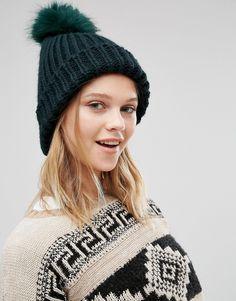 Image 1 ofNew Look Faux Fur Pom Bobble Hat