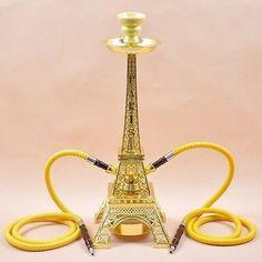2 Hose gold Eiffel tower Hookah Pipe Huka Hooka Narghile Smoke Pipe