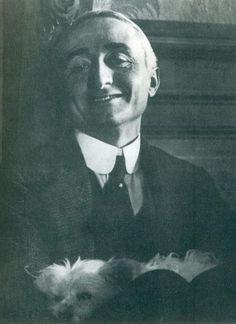 Gian Carlo Dall'Armi, Portait of Riccardo Gualino and his Pelkie dog. 1925 ca.