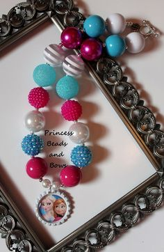 Disney Frozen Inspired Elsa and Anna Sisters Chunky Necklace, Bubble Gum Bead Necklace, Princess Necklace, Photo Prop  Ready to Ship! on Etsy, $16.99