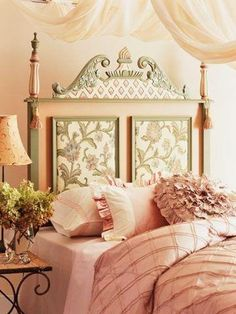 Blush and Gold Bedroom inspirations with Fabric Headboard