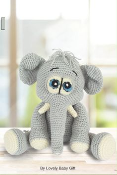 This amigurumi elephant toy is so cute. Crochet Basics, Diy Crochet, Crochet Patterns Amigurumi, Amigurumi Doll, Crochet Elephant, Baby Shower Gifts For Boys, Single Crochet Stitch, Stuffed Toys Patterns, Crochet Animals