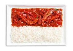Bandeira Indonésia: Caril e arroz picante