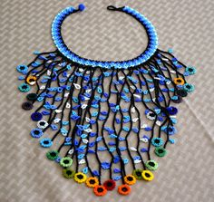 Colombian Glass Bead Necklace. TotalLength: 16 in (40.6 cm) -LittleColibri