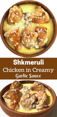Shkmeruli -Georgian Creamy Chicken Baked in Milk and Garlic. A classic dish from the country of Georgia that is comfort food at its finest! Great served over cheesy mashed potatoes! Creamy Chicken Bake, Garlic Sauce For Chicken, Creamy Garlic Sauce, Georgian Cuisine, Georgian Food, Georgian Recipes, Small Baking Dish, Russian Recipes, International Recipes