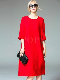 Shop for high quality Pure Color Pocket Patch Shift Dress online at cheap prices and discover fashion at Ezpopsy.com