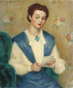 Lady in Blue and White Reading a Letter (1946) by Georges van Houten Collection: University of Oxford
