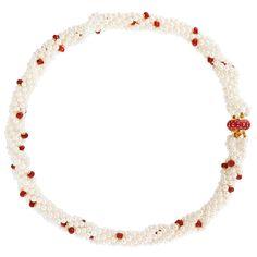 Κολιέ με λευκά μαργαριτάρια, ρουμπίνια και χρυσά στοιχεία 14K - M119482