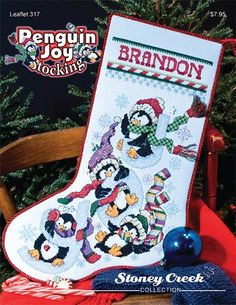 Penguin Joy Stocking - (Cross Stitch)-Adorable penguins Christmas Stocking with word JOY. Count: x Model stitched on clear sky Stoney Creek Dyed fabric. 2 over Condition: New: Publisher: Stoney Creek Book Nbr: 317 Year: 2008 Diffic Santa Cross Stitch, Cross Stitch Christmas Stockings, Cross Stitch Stocking, Christmas Stocking Pattern, Cross Stitch Tree, Xmas Stockings, Mini Cross Stitch, Cross Stitch Kits, Christmas Cross