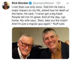 That's who told him to kill his characters…Stan Lee…great guy but uncle Rick learned some bad things from u Source by elainahamric Marvel Comics, Marvel Jokes, Funny Marvel Memes, Percy Jackson Memes, Percy Jackson Fandom, Rick Y, A Silent Voice, Dc Memes, Magnus Chase
