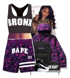 """."" by eirinimaria ❤ liked on Polyvore featuring A BATHING APE and JanSport"