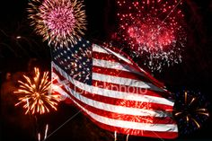pics of the american flag for the 4th of july | Fourth of July Fireworks and American Flag Royalty Free Stock Photo