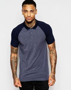 Image 1 of ASOS Muscle Polo With Contrast Sleeves In Navy