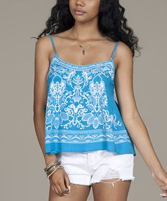 Another great find on #zulily! Teal Floral Camisole by Flying Tomato #zulilyfinds