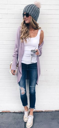 #fall #outfits women's long gray cardigan and distressed blue skinny jeans