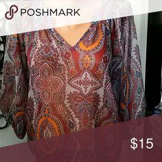 Top Madalion  print, sheer, peasant  style, yoke to v neckline LILY WHITE designer Lily White Tops Blouses