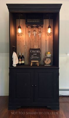Upcycled / repurposed armoire converted into a dry bar / liquor cabinet - Not Too Shabby by Colleen