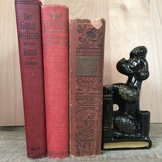 Charming, Vintage Ceramic Black Poodle book end and pen holder Retro kitsch dog figurine perfect poodle by Atatteredtulip on Etsy