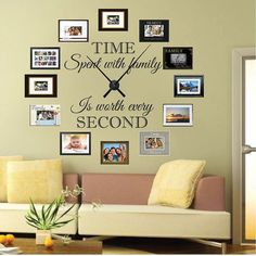 Real Family Clock Wall Decal Living Room by TrendyWallDesigns & Family Clock Wall Quote Decal | Pinterest | Family clock Wall ...