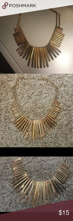 Edgy gold statement necklace Beautiful gold statement necklace, edgy spike detail. Lobster clasp closure. Perfect condition Nasty Gal Jewelry Necklaces