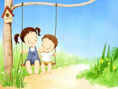 Children's Day Art Illustrations : Childhood Memories and Fun - Children's Day Art Wallpaper : Sister and Little brother on swing 5