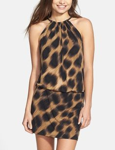This animal print blouson dress is perfect for date night.