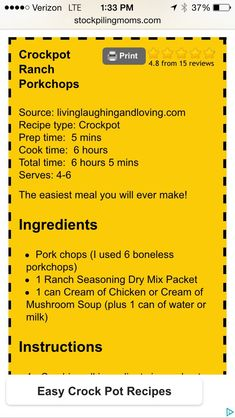 Köstliche auseinander fallen Schweinekoteletts - New Ideas Crock Pot Food, Crockpot Dishes, Pork Dishes, Crock Pot Slow Cooker, Slow Cooker Recipes, Crockpot Recipes, Cooking Recipes, Pork Recipes, Recipies