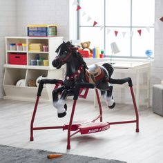 Radio Flyer Duke Interactive Riding Horse. Dimensions: 36L x 21W x 41H in. For ages 2 to 6 yrs. Electronic sounds triggered by riding action. 3 stages of riding sounds: walking, trotting, and galloping. Includes brush and feeding carrot accessories.
