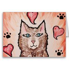 Kitty Cat Love Valentine Card Blank