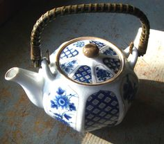 Vintage Tea Pot  Blue Floral Pattern Wicker Handle by TheBackShak,