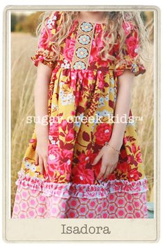 Isadora Girls Peasant Dress....Little Girl Sizes  2t, 3/4 or 5/6.....Sugar Creek Kids Handmade Clothing