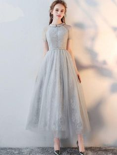 Gray Lace Turn-down Collar Short Sleeves Tulle A-Line Dresse, Shop plus-sized prom dresses for curvy figures and plus-size party dresses. Ball gowns for prom in plus sizes and short plus-sized prom dresses for Tulle Prom Dress, Lace Evening Dresses, Homecoming Dresses, Party Dress, Wedding Dresses, Tulle Lace, Wedding Skirt, Pink Tulle, Prom Gowns