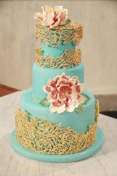 Turquoise and Gold Fondant Wedding Cake ♥ Best Wedding Cake Ideas